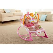 Baby Automatic Rocking Chair Fisher Price Infant To Toddler Rocker Sleeper Pink Bunny Pattern