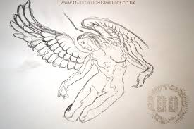warrior angel and dragon tattoo design dark design graphics