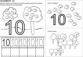 number 10 ten tracing and coloring worksheets crafts and