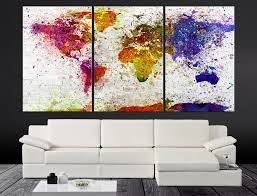Large Wall World Map by Xlarge Splash Colorful World Map Canvas Print Contemporary 3