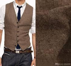 2017 vintage country brown tweed vests wool herringbone british