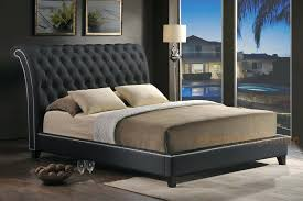 bed frame with leather headboard sleigh wood bed with leather