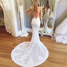 backless lace wedding dresses mermaid v neck backless court wedding dress with lace