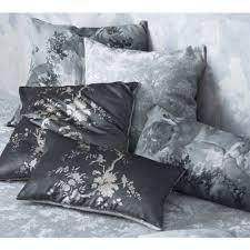 Cushions Velvet Oriental Botanica Velvet Cushion In Pewter Grey