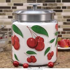 cherries glass kitchen canister metal lid 96 oz apothecary jars