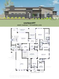 contemporary one story house plans baby nursery house plans with center courtyard modern courtyard