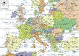 European Continent Map by Geoatlas Continental Maps Europe A3 Format Map City