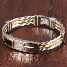 cross bracelet jewelry images Stainless steel cross bracelet homme men jewelry gold color punk jpg