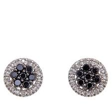 stud earrings 0 40ctw colored and white diamond sterling silver stud earrings