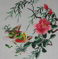 chinese art hand made silk embroidery love birds with