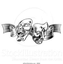 engraved ribbon vector illustration of a black and white engraved comedy and