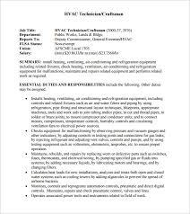 Hvac Installer Job Description For Resume by Hvac Resume U2013 8 Free Samples Examples Format