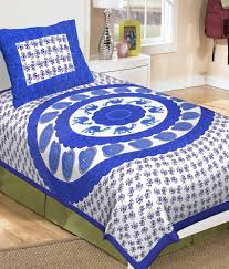 Buy Cheap Double Bed Sheets Online India Metro Living Blue And White Contemporary Cotton Single Bedsheet