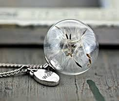 glass ball necklace images He manual wish silver necklace with real dandelion glass ball jpg