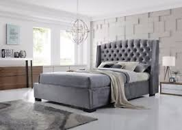 Grey Bed Frame Brando Bed Frame 5ft King Size In Velvet Grey Stunning Winged