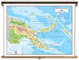 Physical Map Of Australia Papua New Guinea Physical Educational Wall Map From Academia Maps
