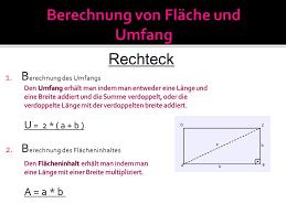 rechteck fläche berechnen das rechteck und das quadrat ppt herunterladen