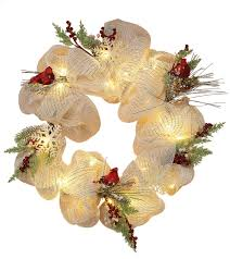 battery operated prelit wreath clear lights