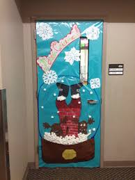 christmas door decoration for a contest snow globe