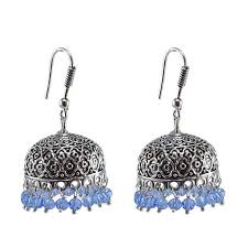 punjabi jhumka earrings buy tribal jhumka with tanzanite crystals antique silver polished