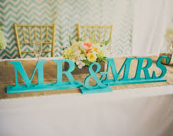 teal wedding mr and mrs wedding signs for hawaiian sweetheart table