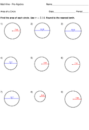 area of a circle worksheets mathvine com