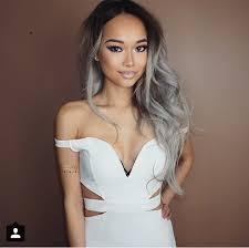dark hair with grey models instagram post by angela angexla silver ombre ombre and