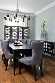 Unusual Pendant Lights by Stylish Dining Room With Black Wooden Table Grey Chairs And Wooden