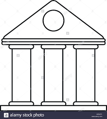 university building style temple thin line vector illustration eps