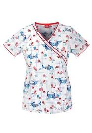 new womens printed scrub set dogs top teal nurses cheap