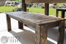 wooden patio table and benches outdoorlivingdecor
