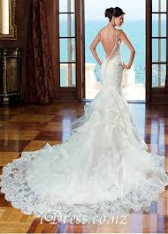 Wedding Dress With Train Open Back Lace Mermaid Wedding Dress With Ruffled Train Idress