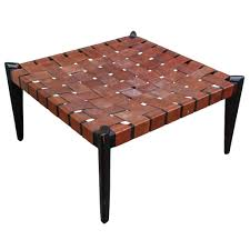 fabulous large square woven leather bench or ottoman
