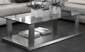 Wohnzimmertisch Grau Couchtisch Glas Edelstahl Rechteckig Möbelmeile24