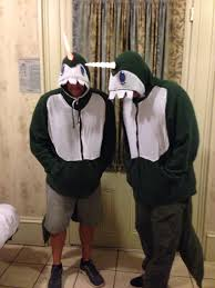 diy narwhal costumes made with a green zip up hoodie with felt and