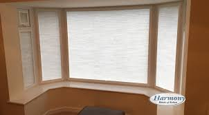 soft white perfect fit blinds in a bay window harmony blinds of
