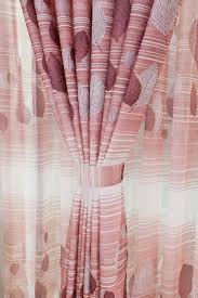 pink leaf horizontal striped print polyester pastoral curtains