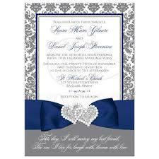 navy blue wedding invitations navy blue white and gray damask wedding invitation printed