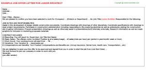 junior architect offer letter