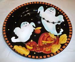 laurie gates ware ceramic halloween ghost pumpkin black u0026 orange