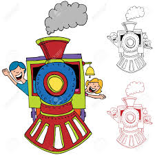 an image of children riding on a train royalty free cliparts