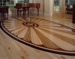wood floor design with a square pattern in the center was carved