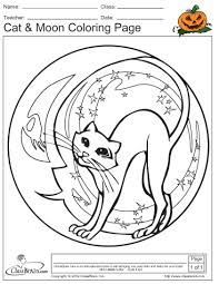 halloween coloring cat u0026 moon