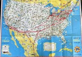 Sturgis Michigan Map by 1940s Vintage American Airlines Pictorial Systems Map Routes Of