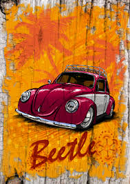 surf car clipart vw beetle in surf style custom prints personalised to match your