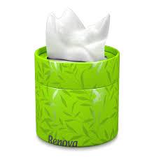 box of tissue paper white tissues green box renova