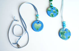 day necklaces salt dough earth day necklace