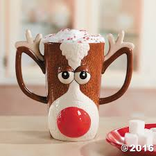 Cool Mugs Canada Amazon Com Reindeer Face Holiday Mug W Red Nose And Antlers By