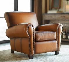 Leather Studded Armchair Manhattan Leather Armchair With Nailheads Pottery Barn