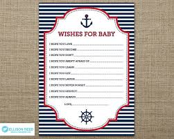 nautical wish card nautical baby shower wish for baby anchor
